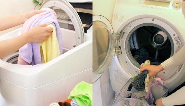 縦型とドラム式洗濯機で洗濯する人
