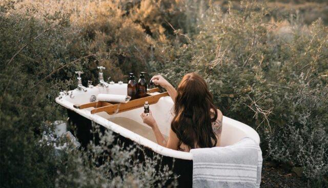 自然の中で入浴