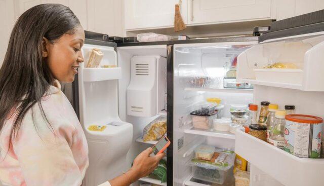 観音開き冷蔵庫と女性