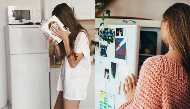 女性と左開きの冷蔵庫