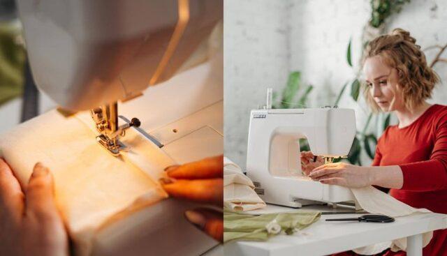 ミシンで縫い物をする女性