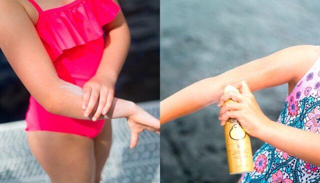 日焼け止めを塗る水着の女の子