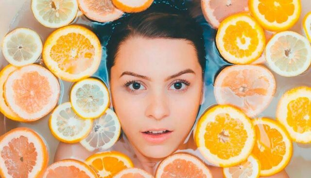 オレンジを浮かべたお風呂