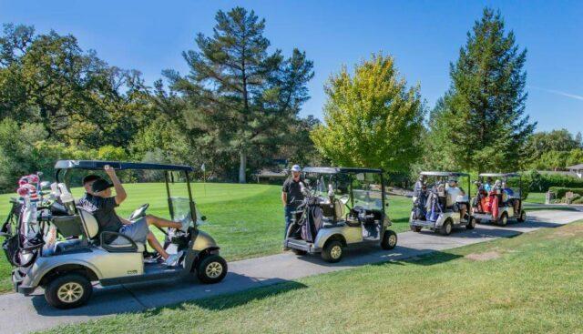 ゴルフカートに乗るグループ